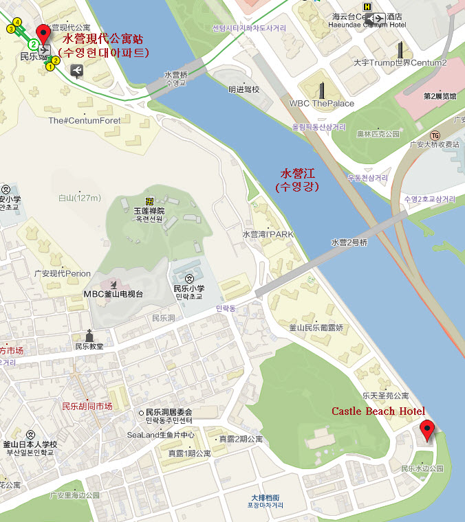 Busan Castle Beach Hotel Location Map