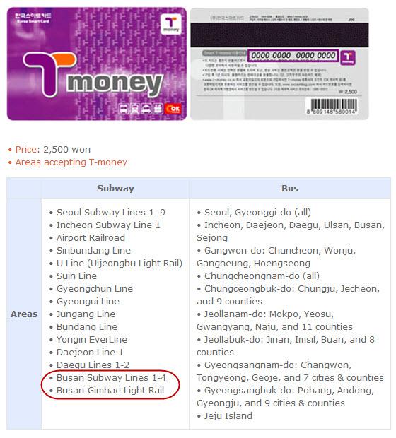 T-Money 可使用城市